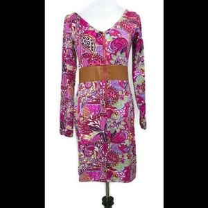 Tracy Negoshian Pink Paisley Floral Print Dress
